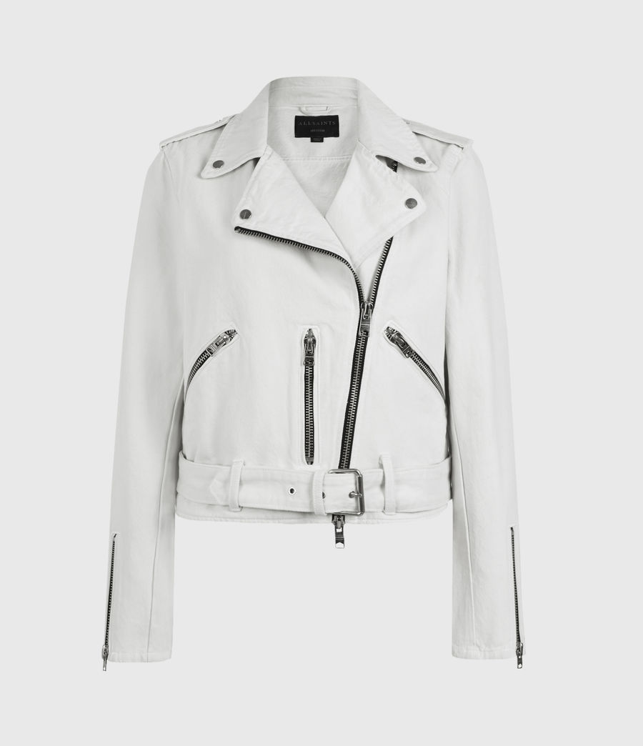 Womens Balfern Denim Biker Jacket (stone_white) - Image 2