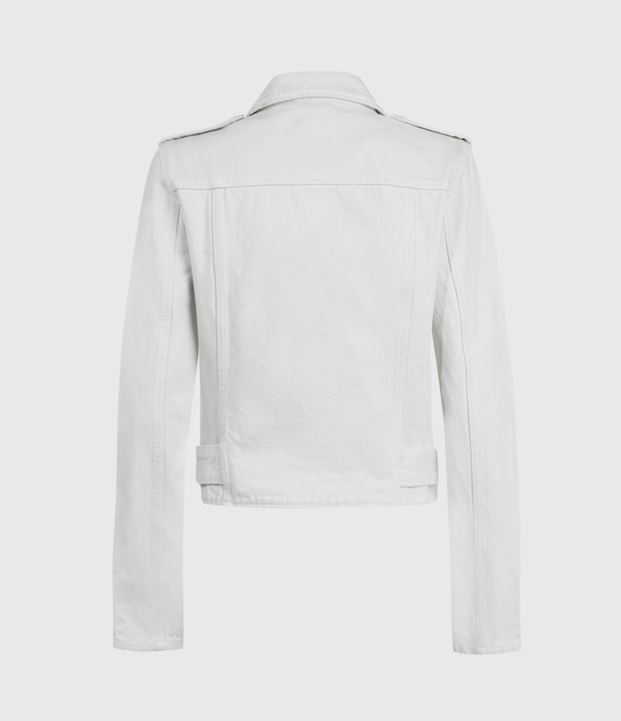 Womens Balfern Denim Biker Jacket (stone_white) - Image 3