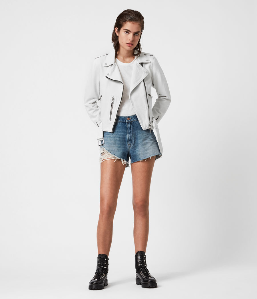 Womens Balfern Denim Biker Jacket (stone_white) - Image 4