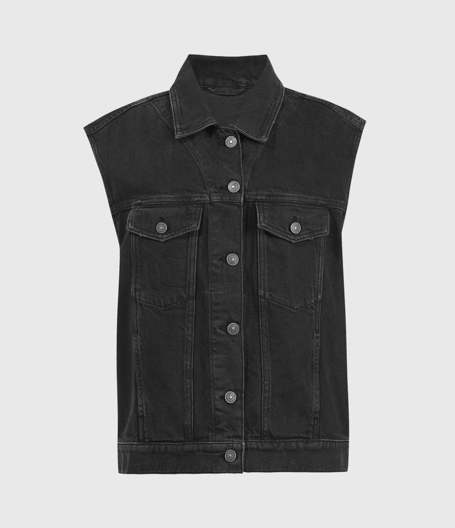 Women's Alva Denim Vest (black) - Image 2
