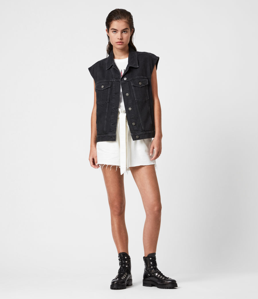 Women's Alva Denim Vest (black) - Image 4