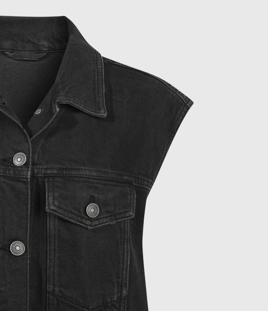Women's Alva Denim Vest (black) - Image 5