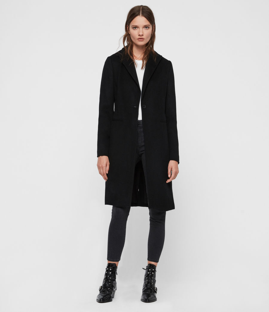 Women's Elora Wool Coat (black) - Image 1