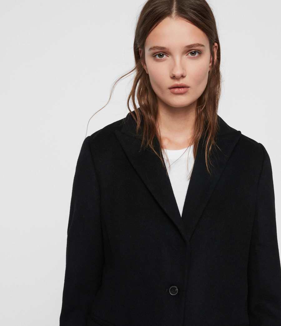 Women's Elora Wool Coat (black) - Image 2