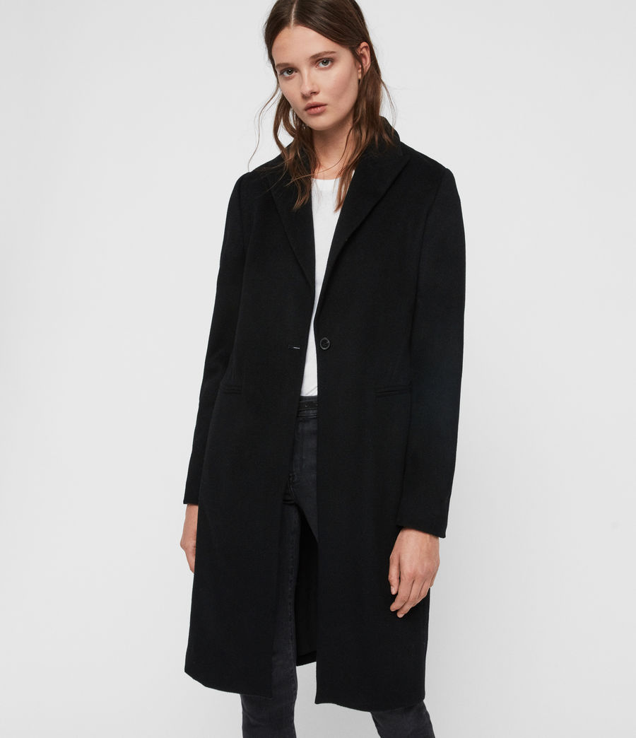 Women's Elora Wool Coat (black) - Image 4