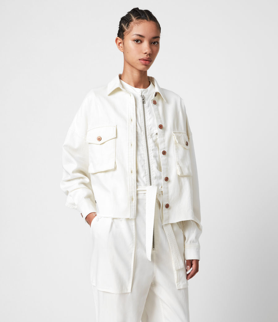 Women's Sol Denim Shirt Jacket (white) - Image 4