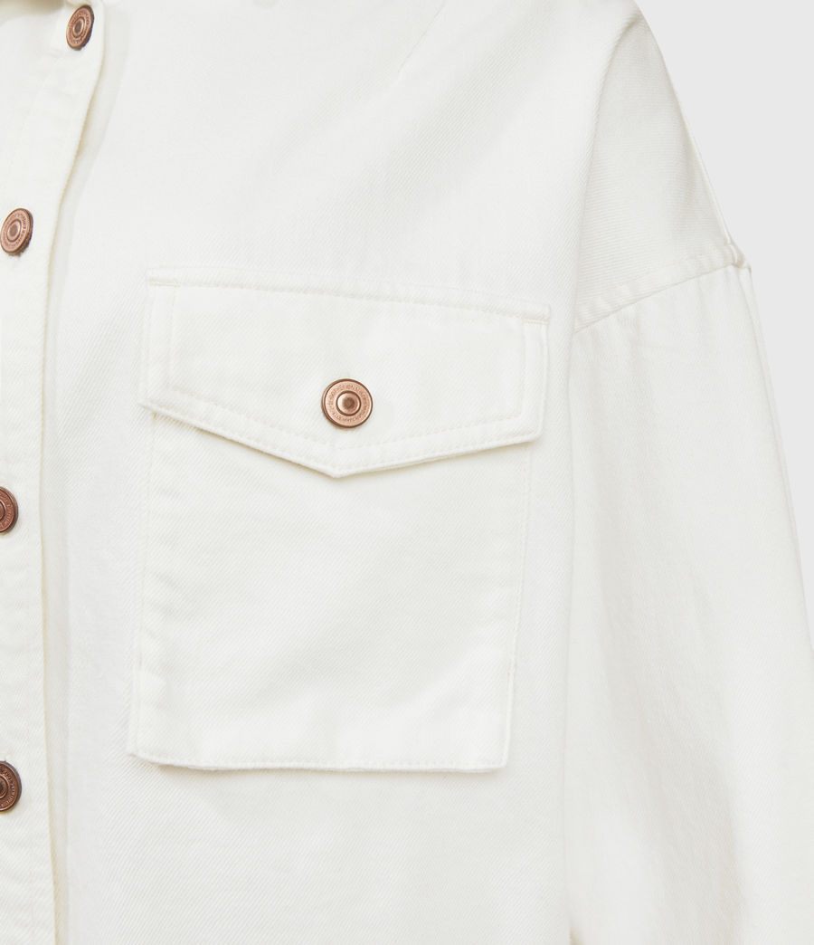 Womens Sol Denim Shirt Jacket (white) - Image 6