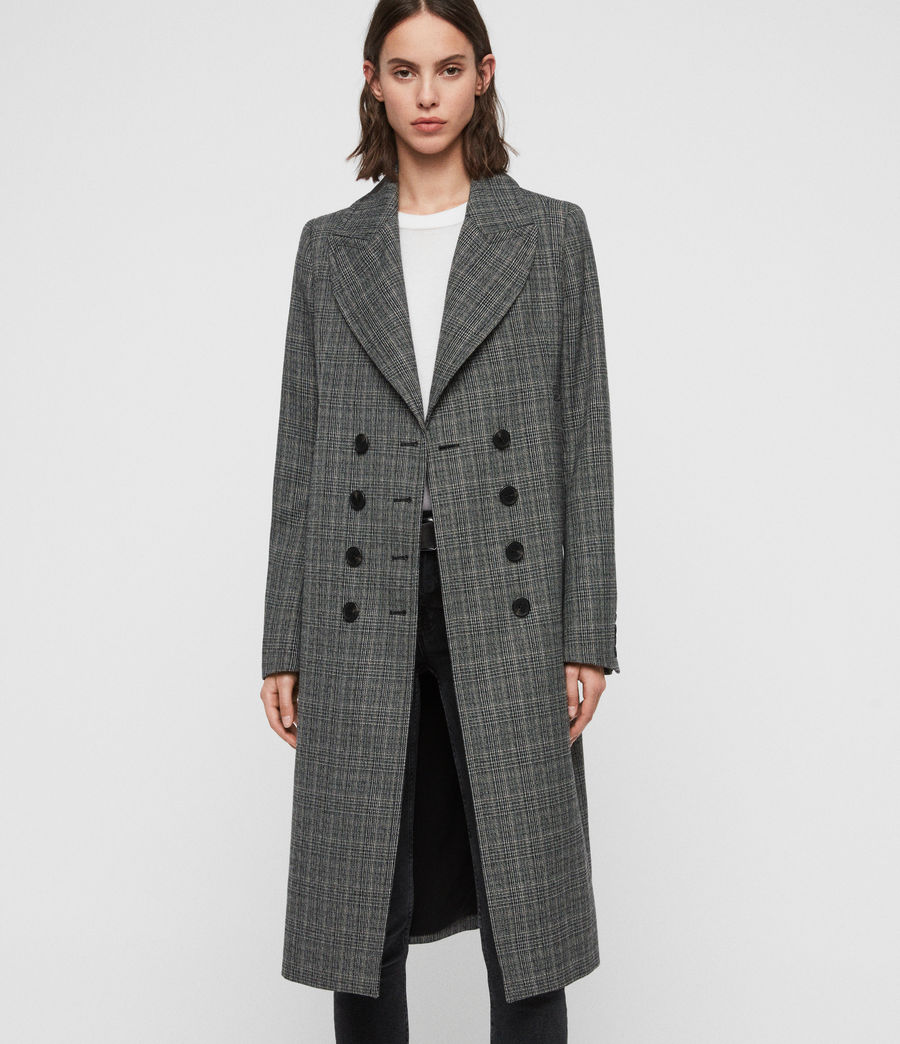 Women's Blair Check Coat (black) - Image 1