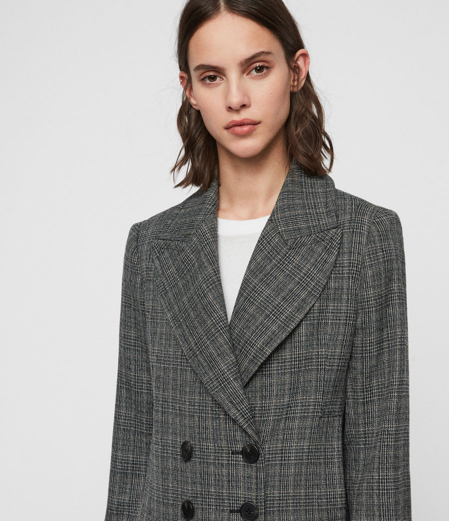Women's Blair Check Coat (black) - Image 2