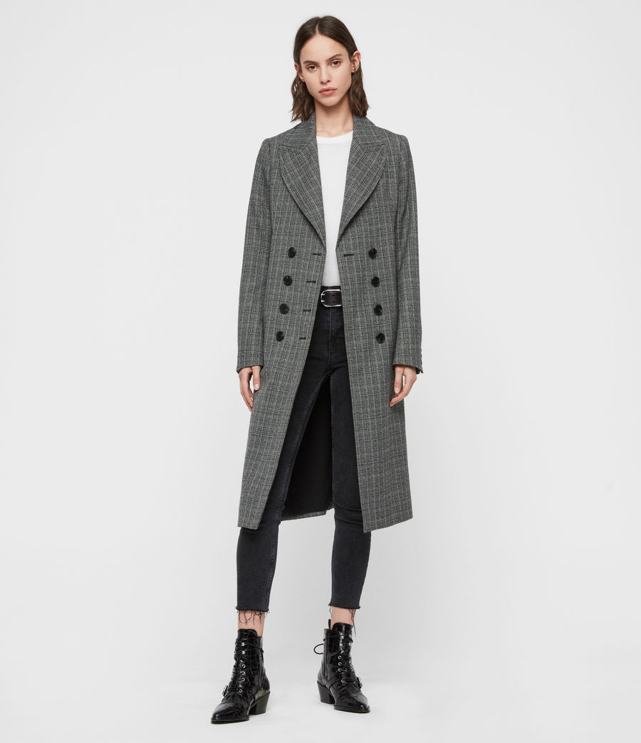 Women's Blair Check Coat (black) - Image 3
