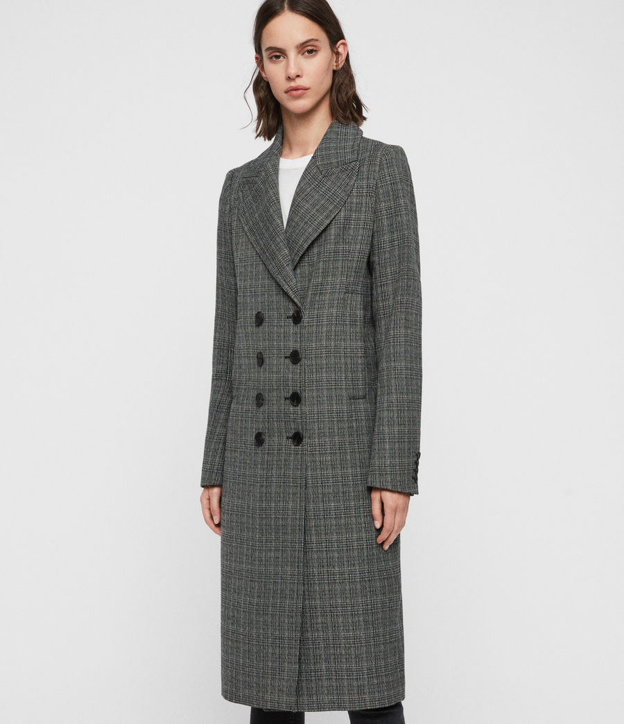 Women's Blair Check Coat (black) - Image 4