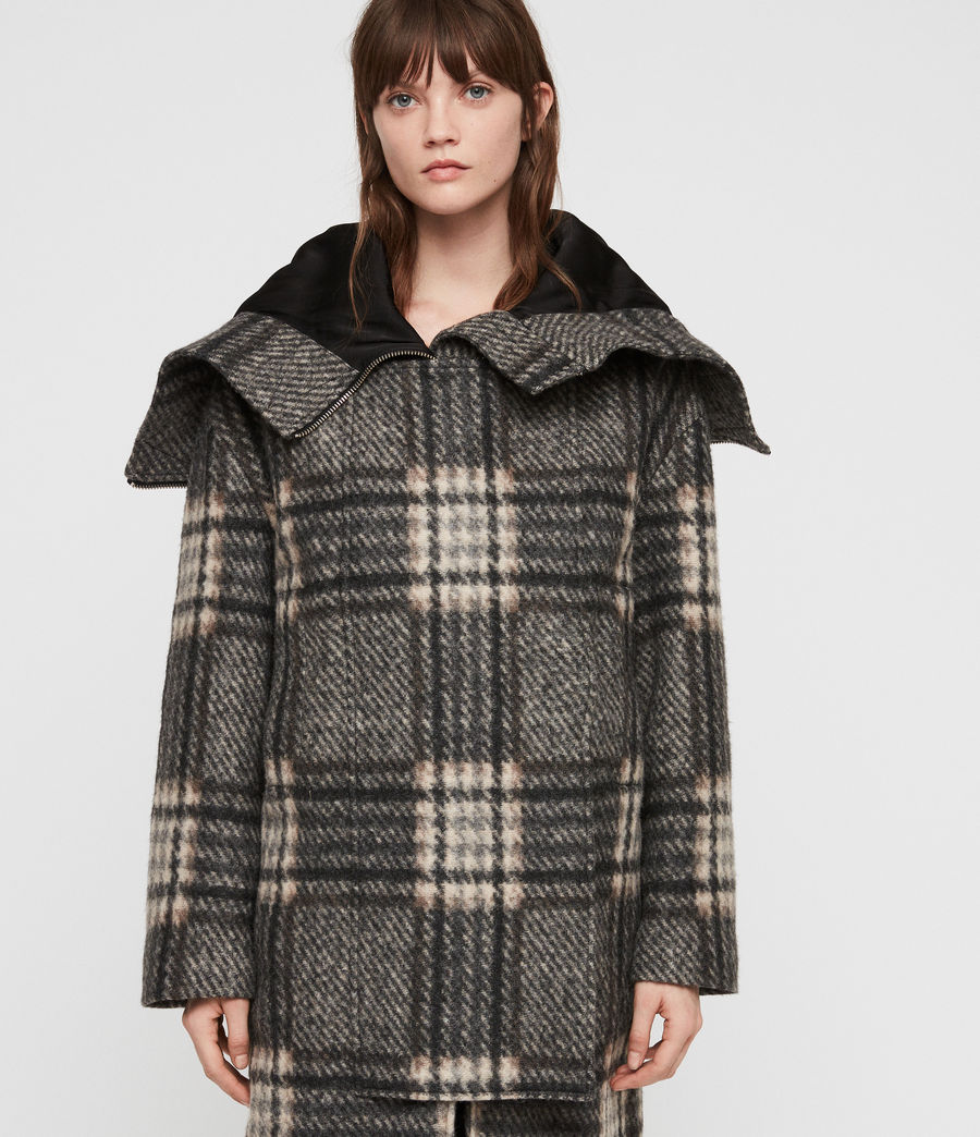 Women's Keira Check Parka (black_charcoal) - Image 1