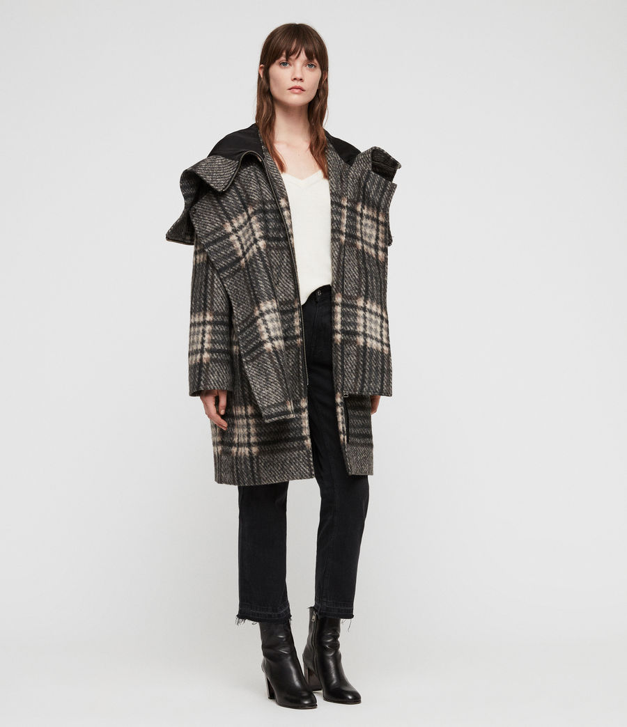 Women's Keira Check Parka (black_charcoal) - Image 3