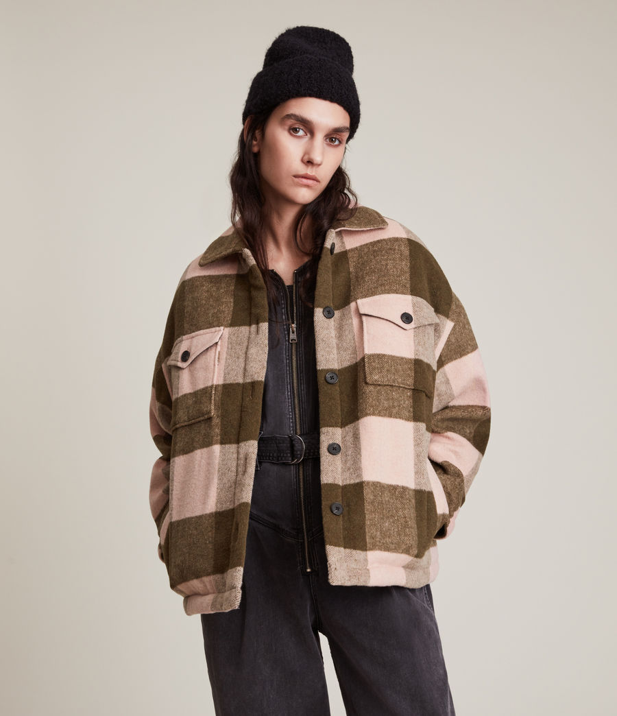 Damen Luella Check Jacket (khaki_pink) - Image 1