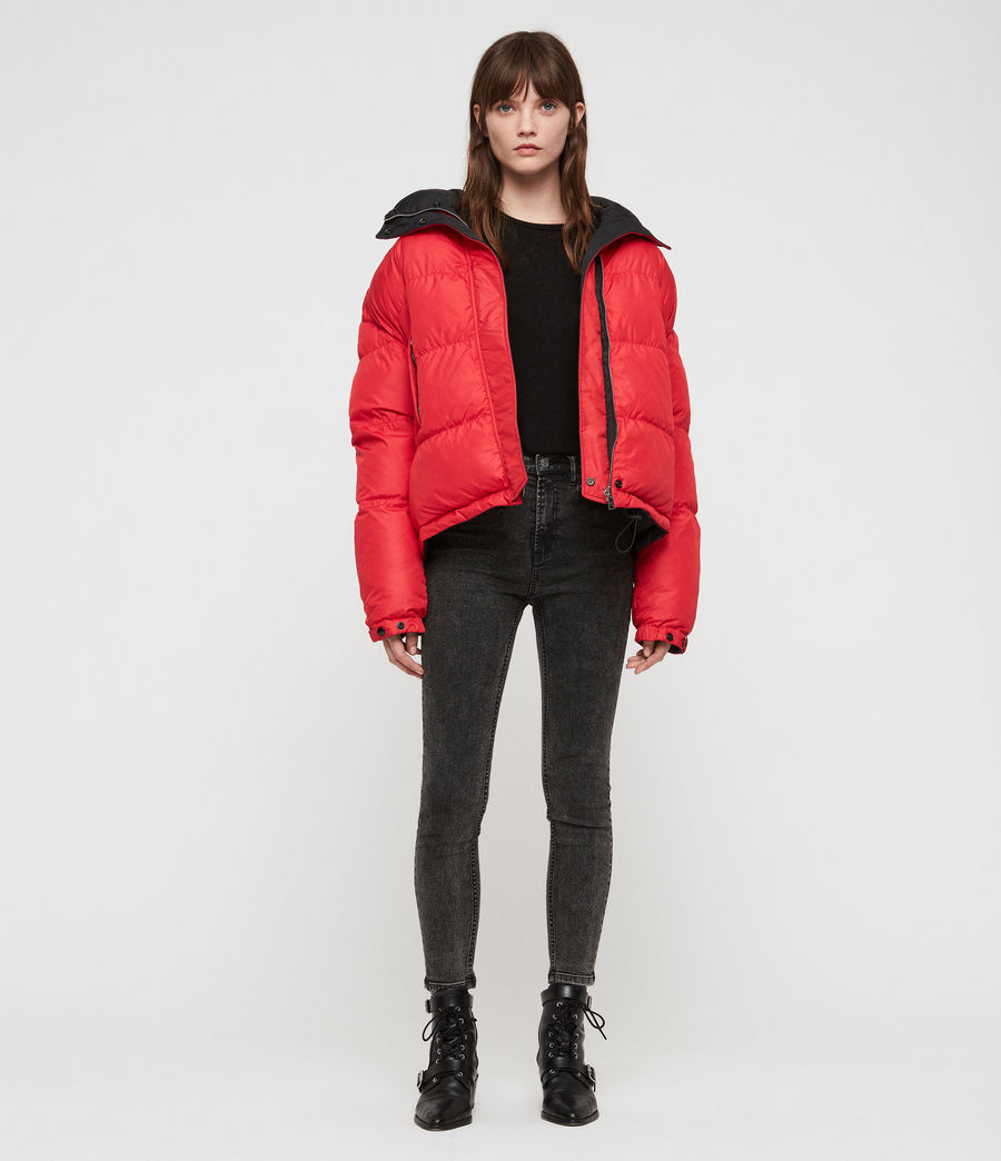 Women's Nala Reversible Puffer Coat (red_black) - Image 1