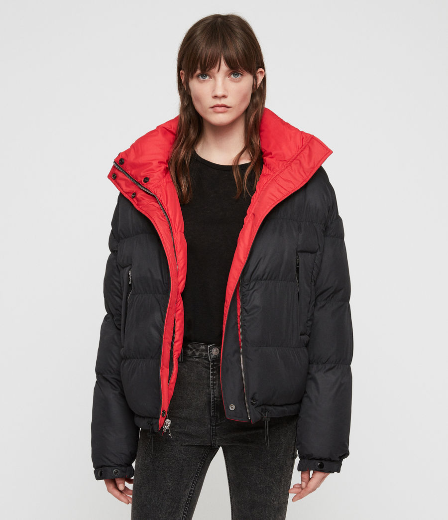 Women's Nala Reversible Puffer Coat (red_black) - Image 3