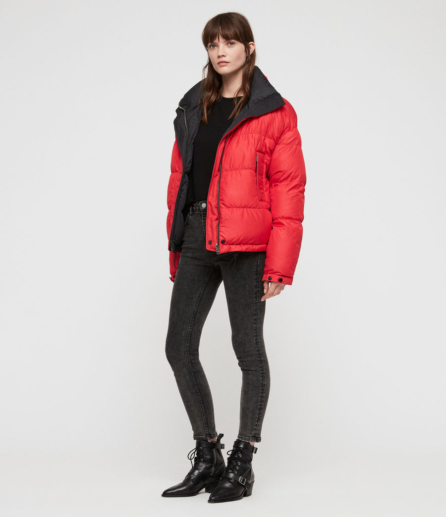 Women's Nala Reversible Puffer Coat (red_black) - Image 4