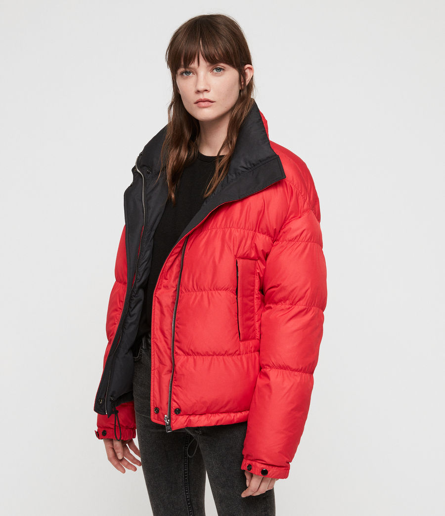 Women's Nala Reversible Puffer Coat (red_black) - Image 5