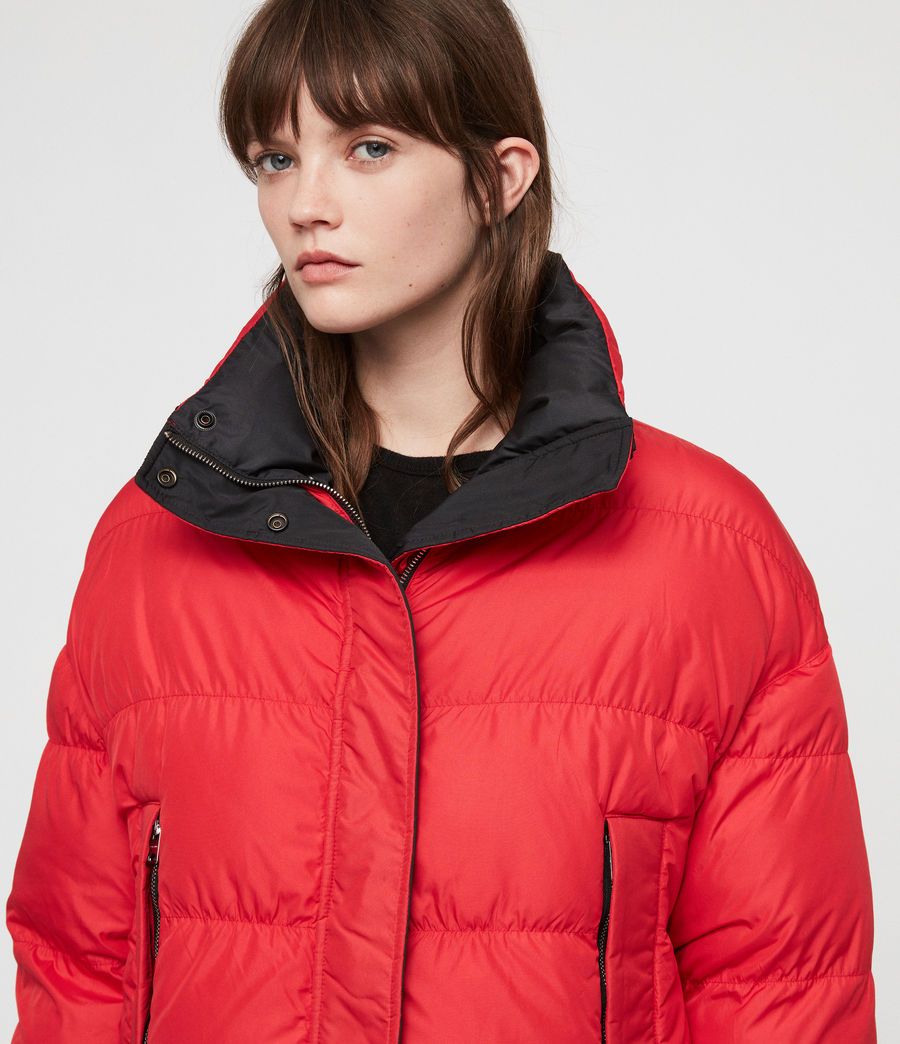 Women's Nala Reversible Puffer Coat (red_black) - Image 6