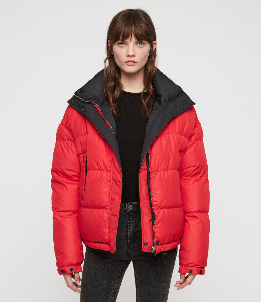 Women's Nala Reversible Puffer Coat (red_black) - Image 7