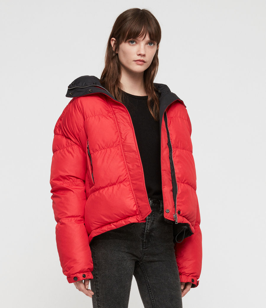 Women's Nala Reversible Puffer Coat (red_black) - Image 8