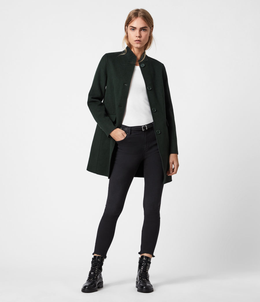 Womens Maya Wool Blend Coat (bottle_green) - Image 1