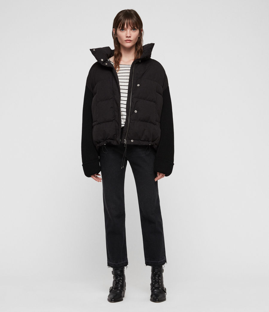 Womens Ines Knit Puffer Coat (black) - Image 1