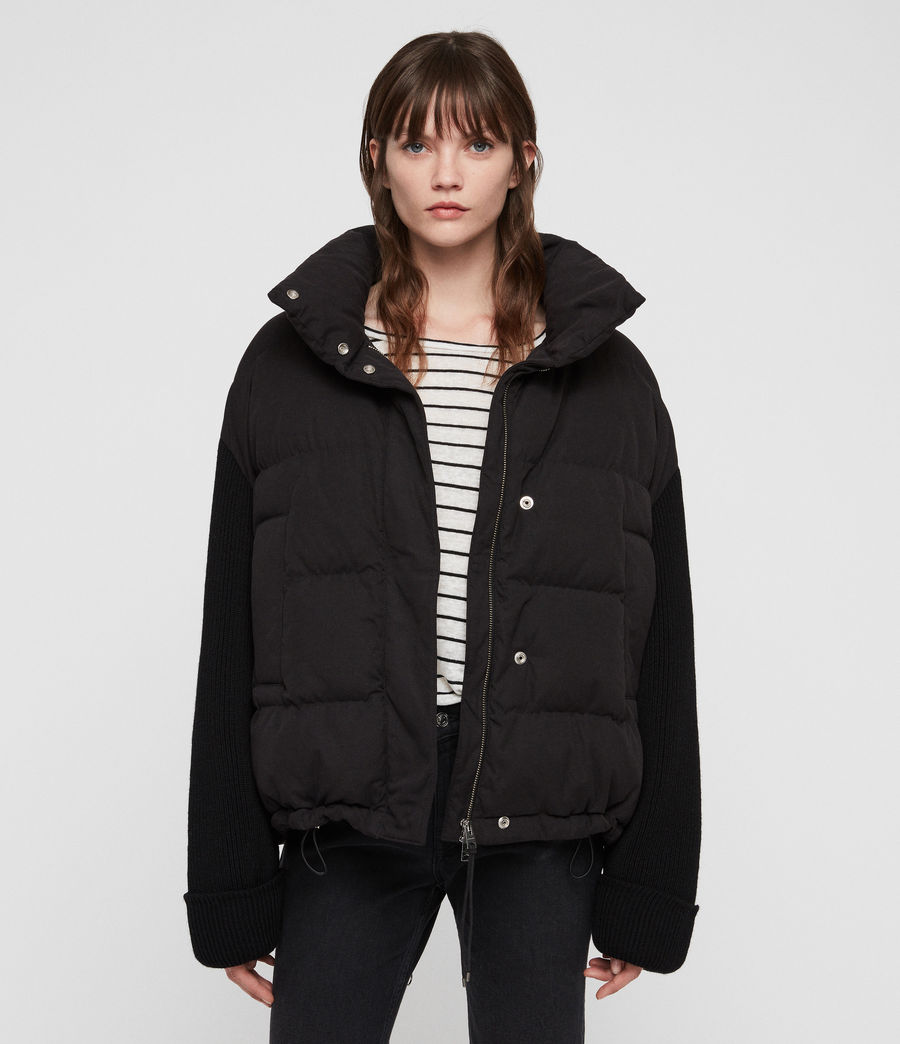 Womens Ines Knit Puffer Coat (black) - Image 2