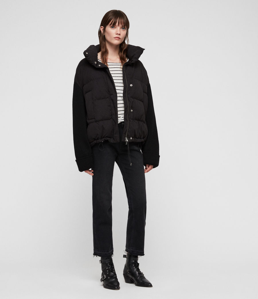 Womens Ines Knit Puffer Coat (black) - Image 3