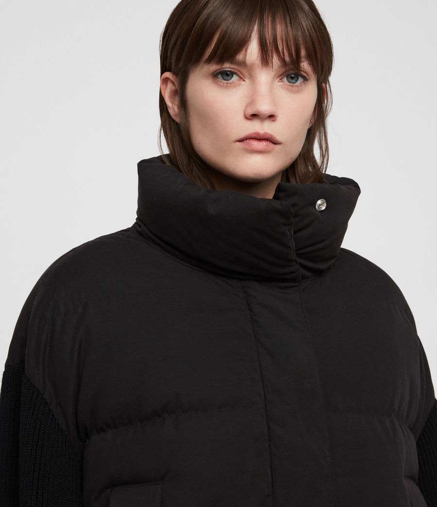 Womens Ines Knit Puffer Coat (black) - Image 4