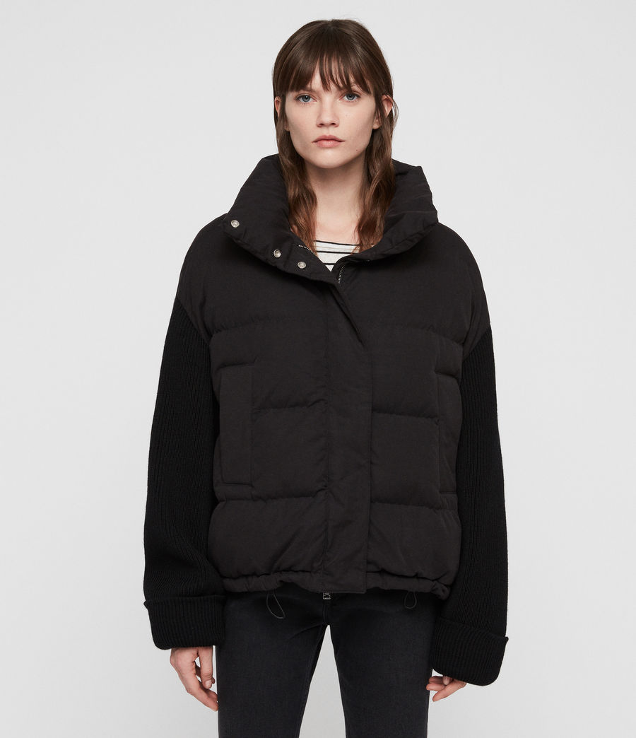 Womens Ines Knit Puffer Coat (black) - Image 5
