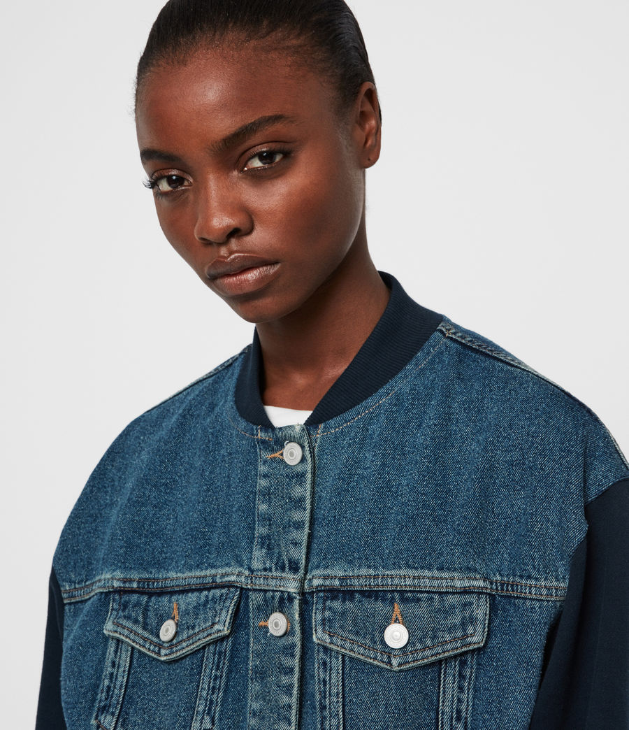 Womens Tank Denim Bomber Jacket (mid_indigo_blue) - Image 2