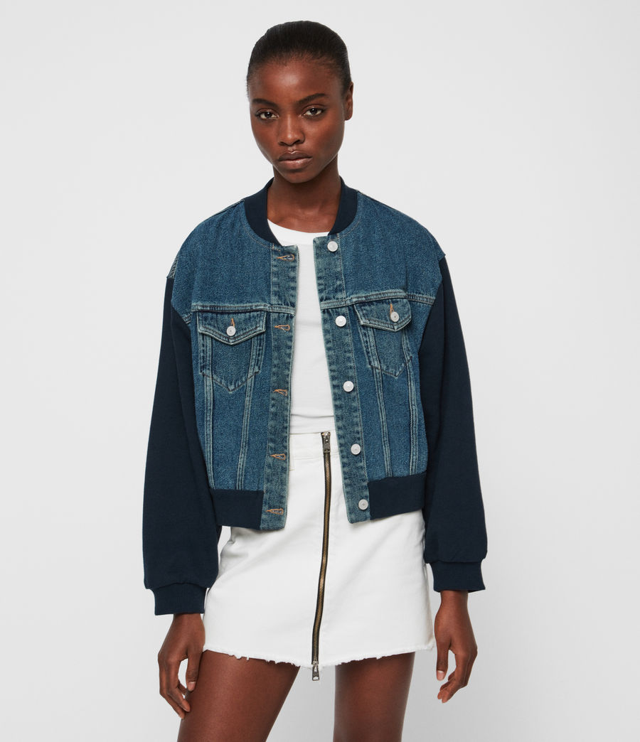 Womens Tank Denim Bomber Jacket (mid_indigo_blue) - Image 3