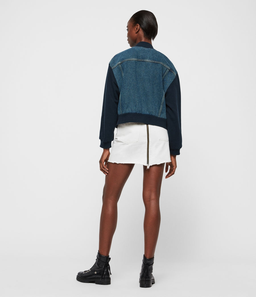 Womens Tank Denim Bomber Jacket (mid_indigo_blue) - Image 5