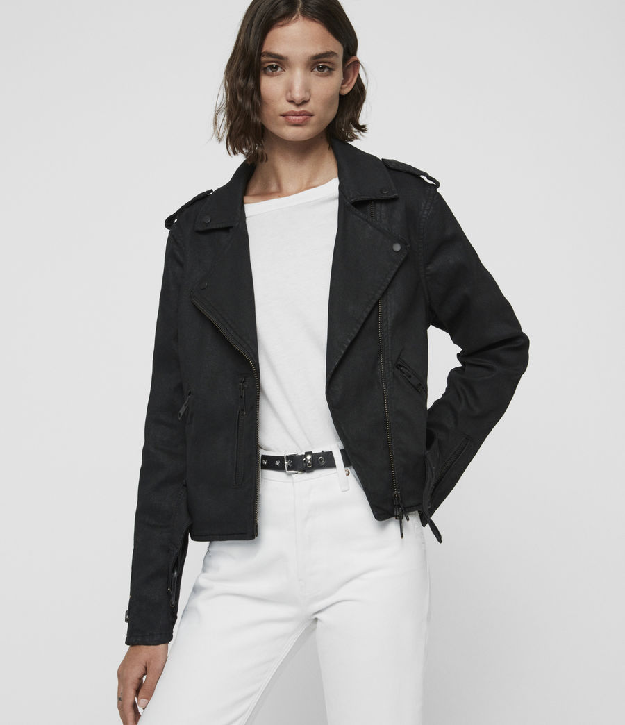 Womens Micah Coated Denim Biker Jacket (black) - Image 1