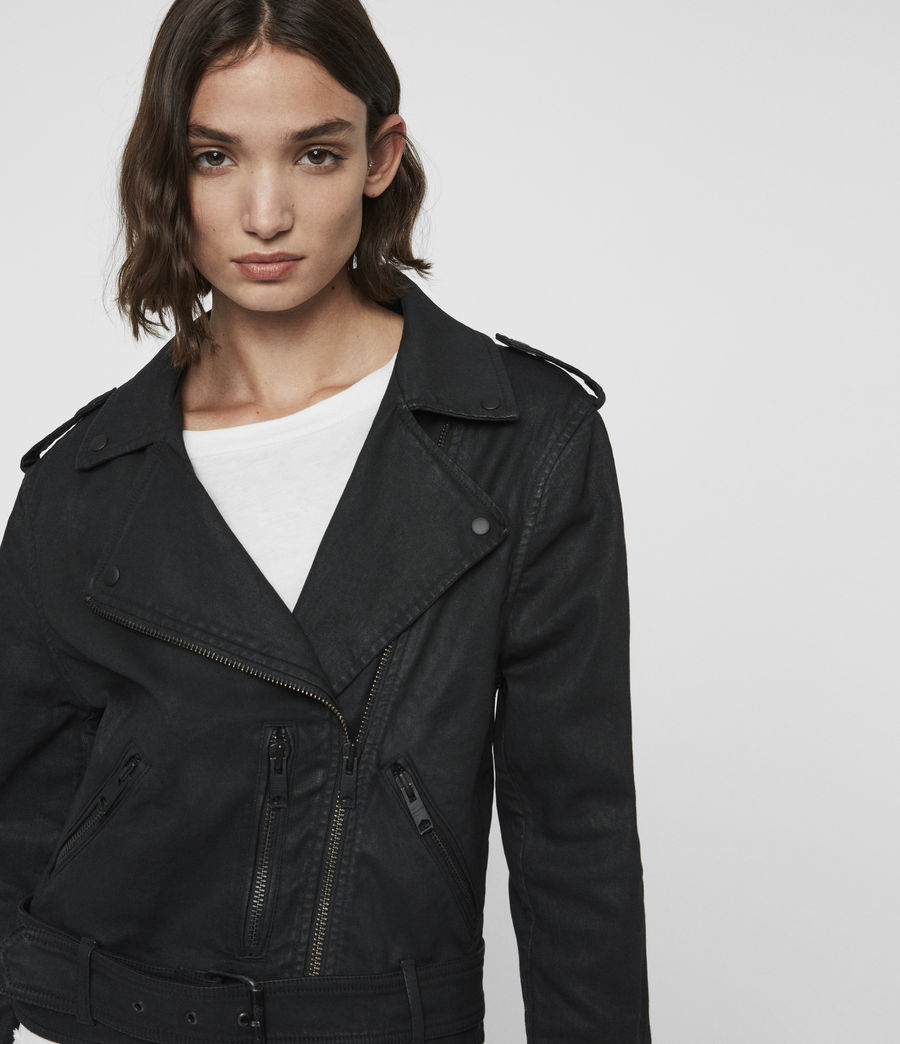 Womens Micah Coated Denim Biker Jacket (black) - Image 2