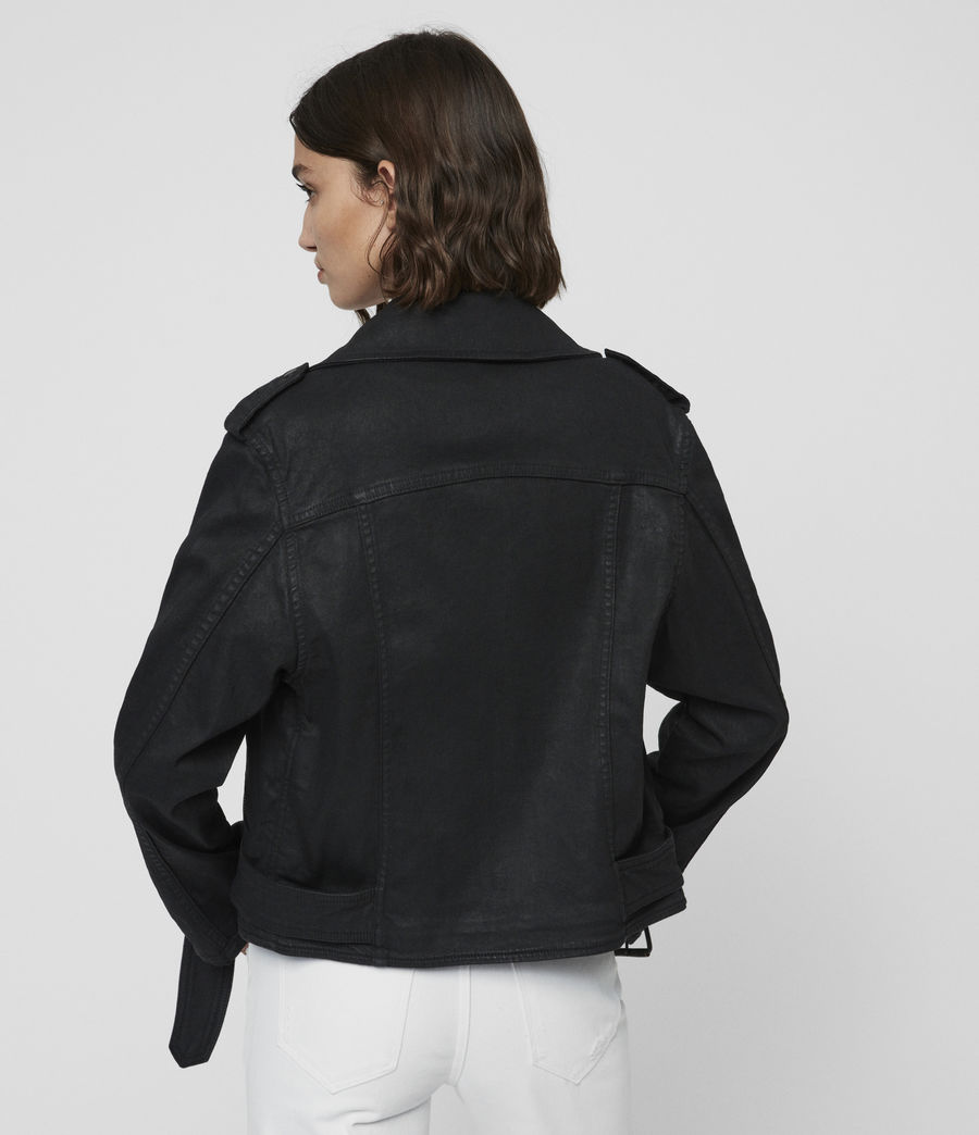 Women's Micah Coated Denim Biker Jacket (black) - Image 4
