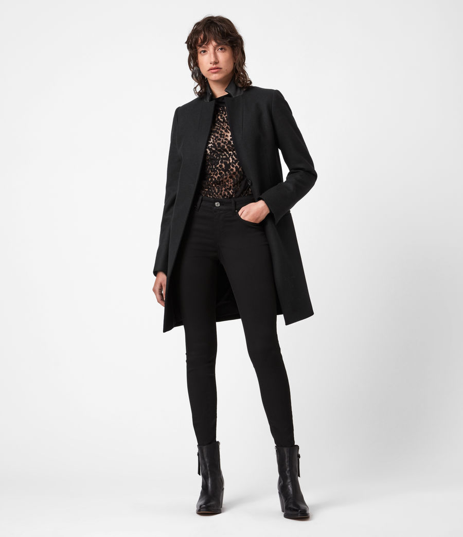 Women's Leni Wool Blend Coat (black) - Image 4