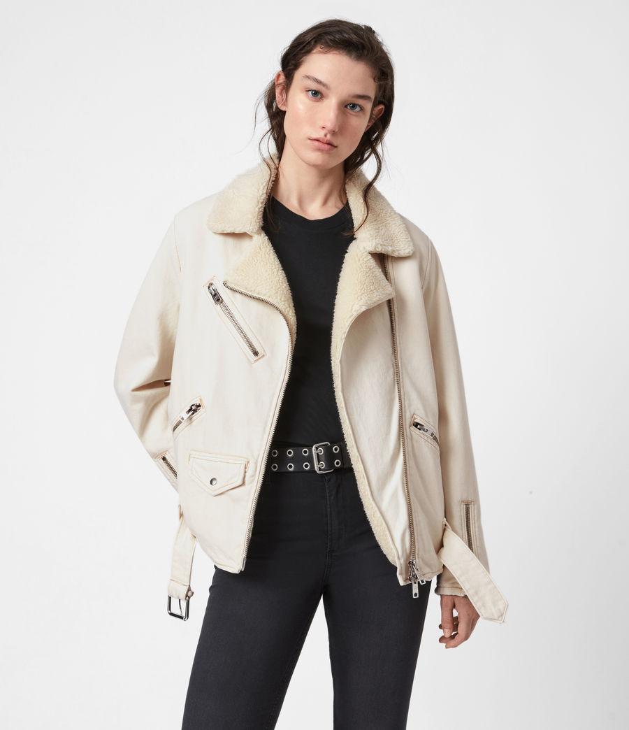 Womens Oversized Sherpa-Lined Denim Biker Jacket (natural_white) - Image 1