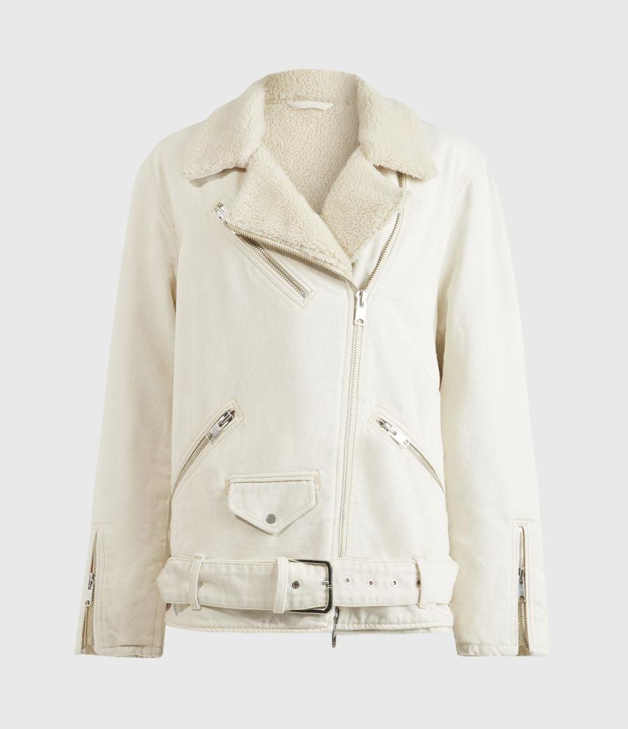 Womens Oversized Sherpa-Lined Denim Biker Jacket (natural_white) - Image 2