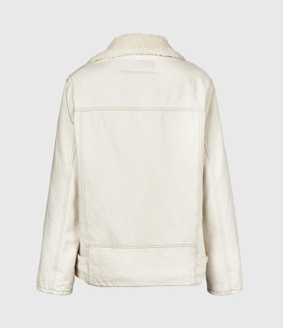 Women's Oversized Sherpa-Lined Denim Biker Jacket (natural_white) - Image 3