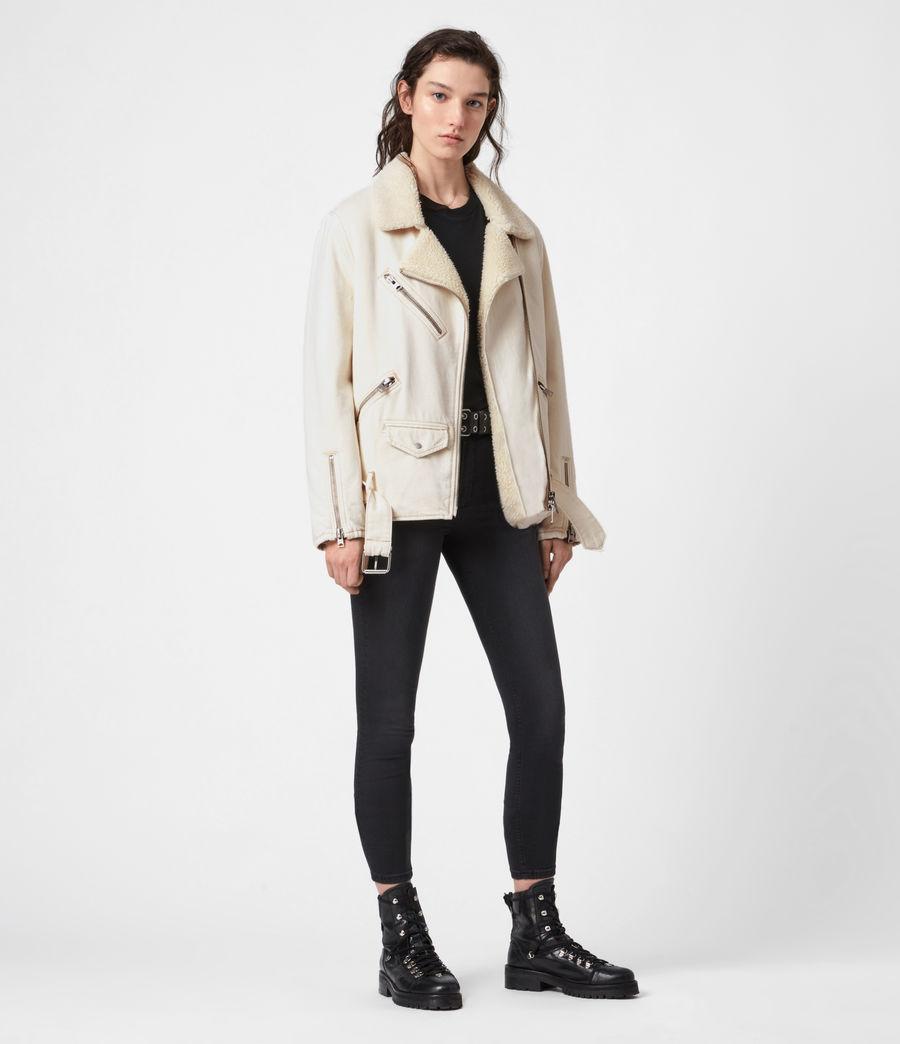 Womens Oversized Sherpa-Lined Denim Biker Jacket (natural_white) - Image 4