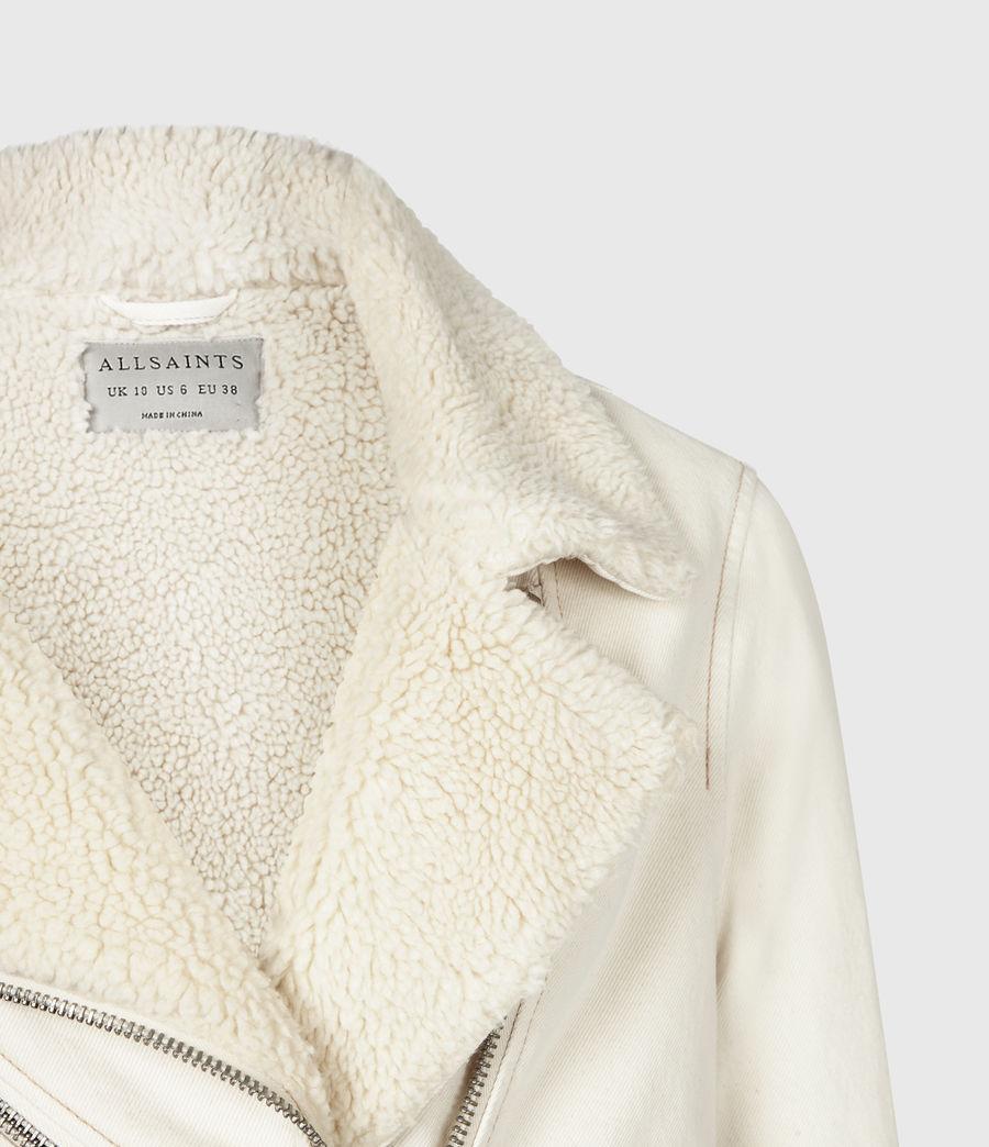Womens Oversized Sherpa-Lined Denim Biker Jacket (natural_white) - Image 5