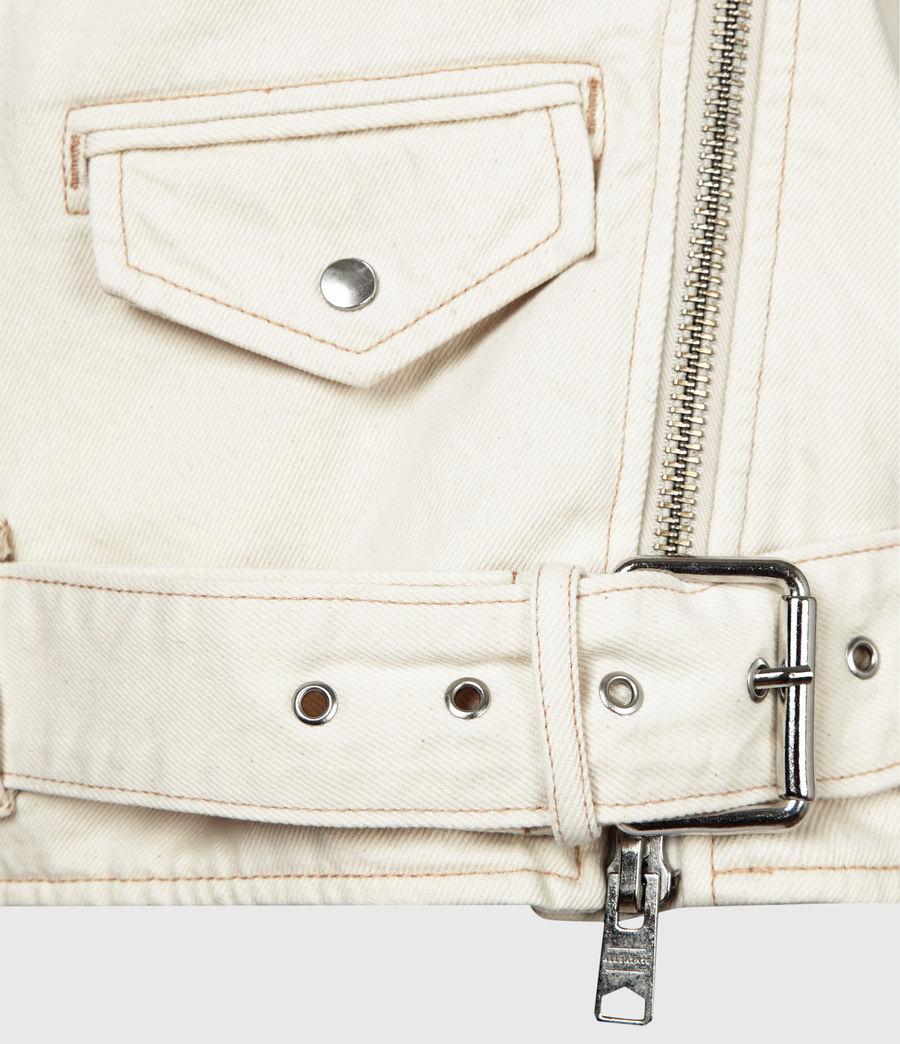 Womens Oversized Sherpa-Lined Denim Biker Jacket (natural_white) - Image 6