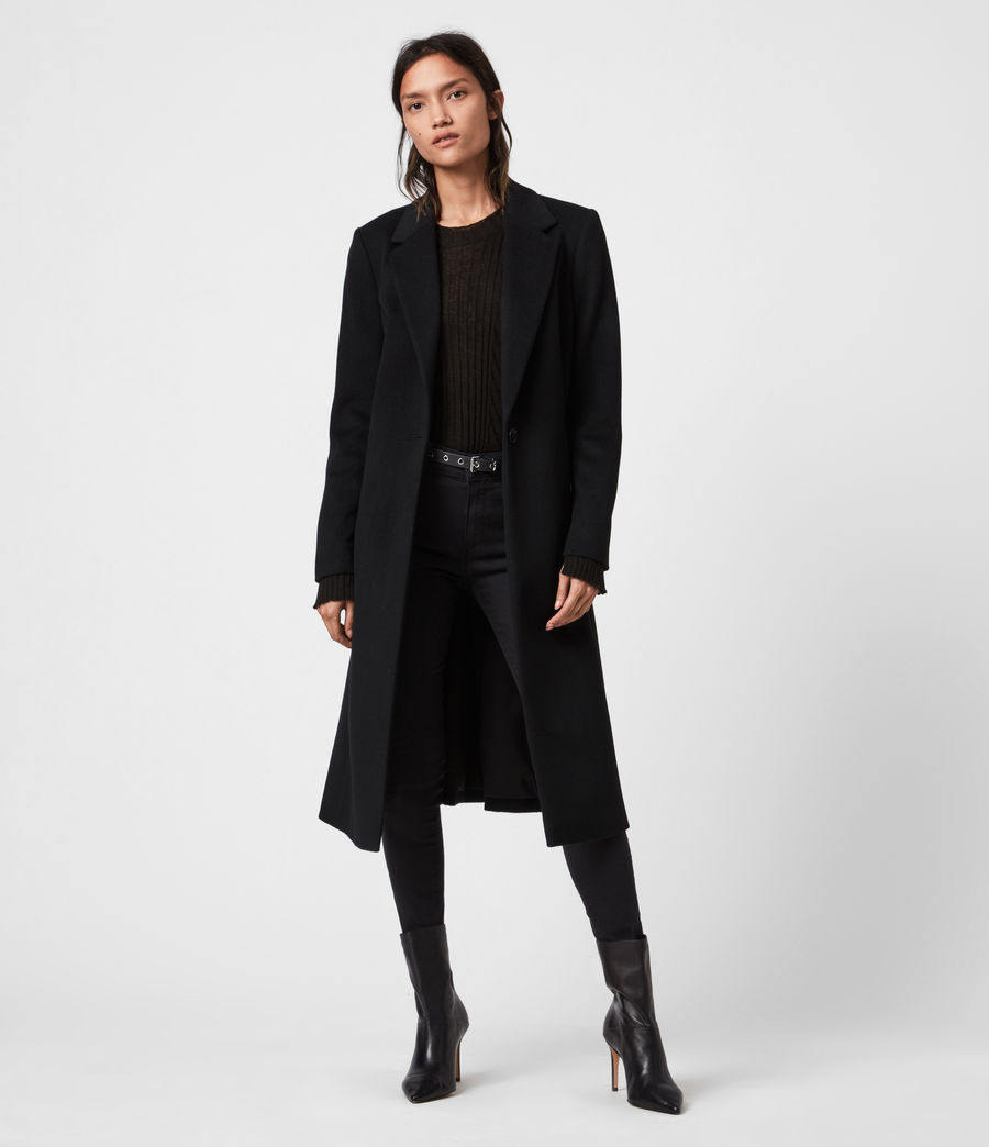 Damen Wade Silk Blend Coat (black) - Image 1