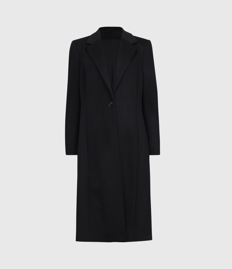 Womens Wade Silk Blend Coat (black) - Image 2