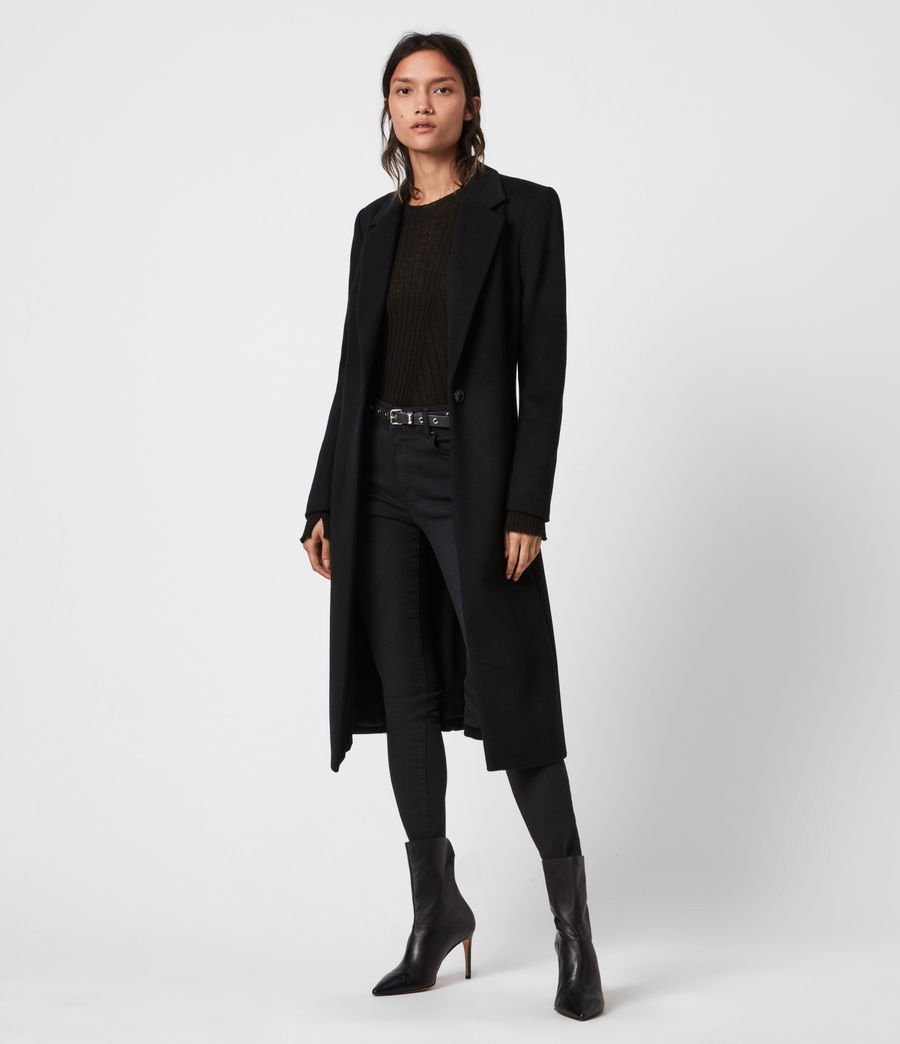 Womens Wade Silk Blend Coat (black) - Image 4