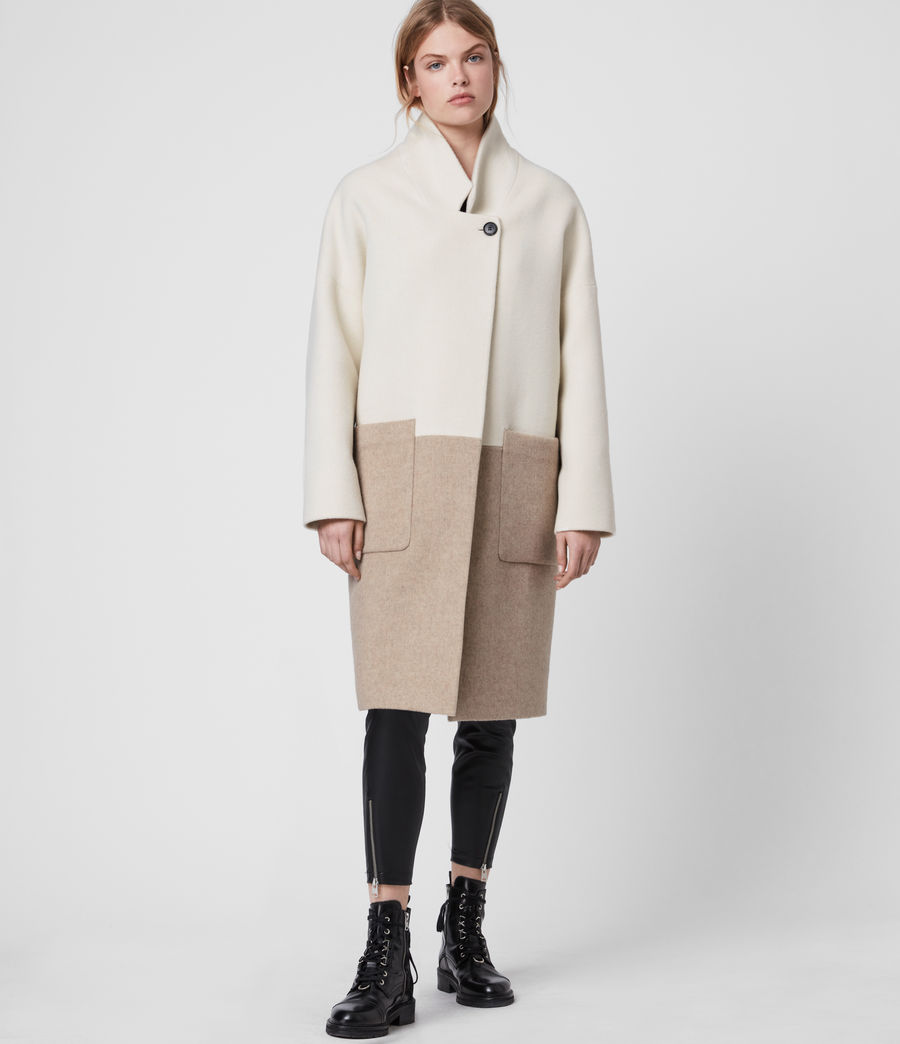 Women's Rylee Coat (ecru_white_brown) - Image 4