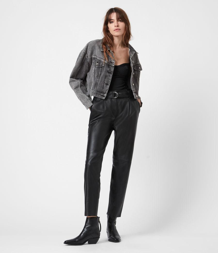 Womens Two Tone Denim Jacket (washed_grey) - Image 4
