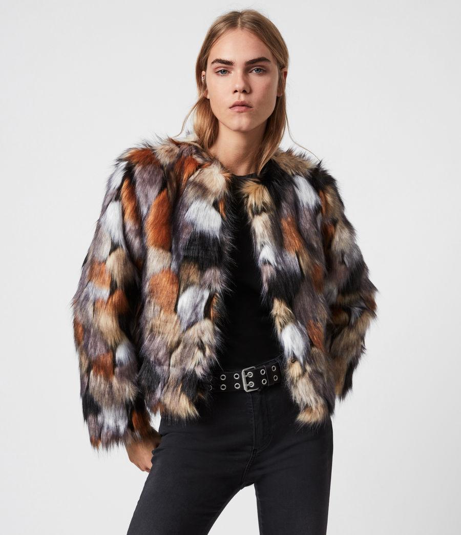 Women's Fifi Faux Fur Patch Jacket (beige_gold) - Image 1